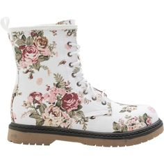 Floral combat boot (€13) ❤ liked on Polyvore featuring shoes, boots, ankle booties, botas, sapatos, ankle boots, bootie, floral boots and chukka boots