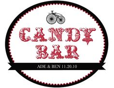 We created these stickers for our candy bar. I found the design here: http://www.weddingchicks.com/