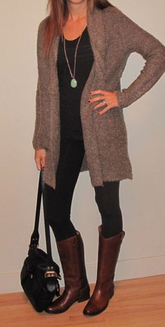 Riding boots with a sweater. Favorite fall outfits.