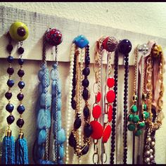 DIY Necklace Holder made from drawer pulls