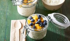 These gluten-free quinoa and coconut pots are mixed with honey, Greek yoghurt and coconut milk, and topped with fruit – they make a fab brekkie on-the-go. Greek Yoghurt, Yogurt, Cooking With Coconut Milk, Cooking Mussels, Cooking Lobster Tails, No Cook Meals, Quinoa, Cooking Recipes, Gluten Free