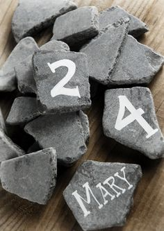 Supplies: Slate Pieces Black lb Bag Paperweights w/ messages. love, peace, joy, etc. Rustic Centerpieces, Centerpiece Decorations, Slate Wedding, Mini Chalkboards, Cheap Wedding Decorations, Save On Crafts, Chalk Markers, Wedding Planning, Wedding Ideas