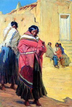 Gerald Cassidy : Indians Outside Taos Pueblo