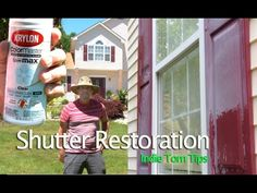 """Shutter Restoration without removing them, using Krylon clear coat paint. Presented by Tommy of Tommy Productions in New Jersey. """" In this video, Tommy shows. Diy Exterior House Shutters, Outdoor Window Shutters, Louvered Shutters, Diy Shutters, Exterior Paint, Paint Vinyl Shutters, Painting Shutters, Clear Coat Spray Paint, Coat Paint"""