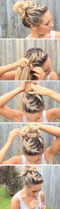braided up to a bun