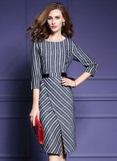 Polyester Stripe 3/4 Sleeves Mid-Calf Elegant Dresses
