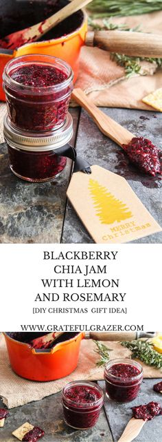 Food-lovers in your life will go crazy for this healthy homemade blackberry chia jam recipe that's perfect as a DIY Christmas gift! via @gratefulgrazer
