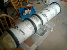 Cannon prop from construction tube and foam pipe insulation tubes. Make your own pirate cannon prop