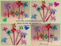 LAPICES O PLUMAS ADORNADOS CON REHILETES DE FOAMY O GOMA EVA Fun Crafts, Hair Accessories, Party, Kids, Google, Craft Videos, Creativity, Crafts For Teens, Ornaments