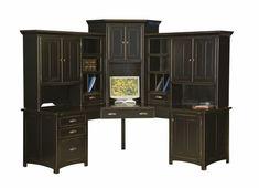 Large Amish Corner Computer Center Desk Hutch Home Office Wood Black Corner Desk With Hutch Black Corner Desk With Hutch