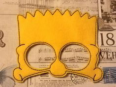 Bart inspired mask ITH Project In the Hoop Embroidery Design Costume The Simpsons, Cosplay, Fancy dress, Masquerade, Photo booth, Prop. by SewBabyBows on Etsy