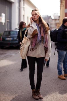 Elbow patch knit sweater + plaid scarf: winter outerwear