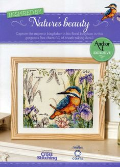 Kingfisher cross stitch picture pattern bird iris flowers needlecraft nature wall hanging advanced beginner wildlife water lily bulrushes from SnoopyLovesHibiscus on Etsy Studio