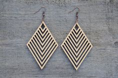 Rhombus Laser Cut Wood Earrings by MoodWoodShop on Etsy