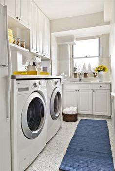 Light Contemporary Laundry Room by Elizabeth Meyerson on HomePortfolio Laundry Nook, Laundry Decor, Basement Laundry, Laundry Room Design, Monochromatic Room, White Laundry Rooms, Laundry Room Inspiration, Home Comforts, Office Interior Design