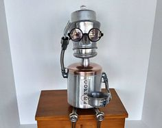 Coffee Bot - Found object robot assemblage - Coffee shop decor - Barista gift - Upcycle Recycle Art - Steampunk Robot -    Edit Listing  - Etsy