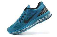 Billig Nike Air Max 2013 Herren Laufschuhe Blau Schwarz zum Verkauf