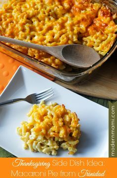 Trinidadian Macaroni Pie: A Caribbean Baked Macaroni & Cheese Thanksgiving Side Dish Idea {Recipe} Thanksgiving Side Dishes, Thanksgiving Recipes, Side Dish Recipes, Dinner Recipes, Dinner Ideas, Baked Macaroni Cheese, Macaroni Pasta, Mac Cheese, Trinidadian Recipes