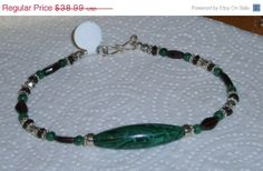 Great Deals Now 925 Sterling silver Malachite and Granet Beaded Bracelet with Sterling Silver  Accents