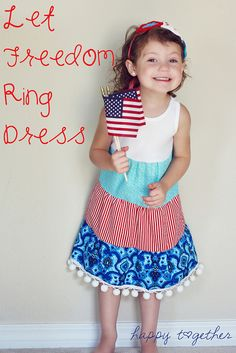 Let Freedom Ring Dress by ohsohappytogether, via Flickr  This is a really simple dress to make as you use a tank top you already have and just add three layers of fabric to it.What you will need to make this dress: -A knit tank top  -Fabric for the 3 tiers -Any additional embellishments you desire (I added a pom pom trim to the bottom).-All your sewing things