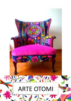 """Vintage Arm chair wing back. Blends well with your otomi Decor! """"La Bohemia"""" - Ready to ship This chair is reserved - not for sale now. This chair is an authentic vintage wood arm chair! Decor, Armchair Vintage, Funky Furniture, Colorful Furniture, Patchwork Furniture, Painted Furniture, Diy Chair, Armchair, Vintage Chairs"""