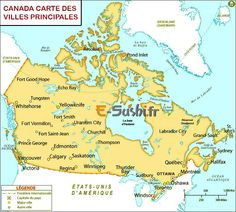 canada cities map showing all the major cities in canada country capital with international boundary