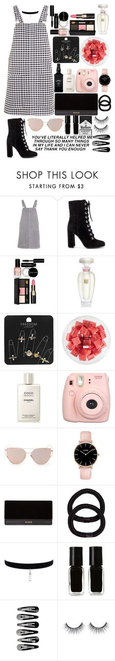 """""""Lights eyes don't match his dark heart"""" by xxdarkmagicxx ❤ liked on Polyvore featuring Topshop, Vince Camuto, Bobbi Brown Cosmetics, Lalique, FRUIT, Chanel, Fujifilm, Balmain, John Lewis and The New Black"""
