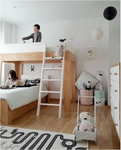 Loft Bed and maybe lower bad on casters so it can easily be moved to reinvent room when wanted.