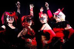 Some of the Lazeeza Swansea performance group at the Masquerade Belly Dance night at Heath Hospital social club, Cardiff