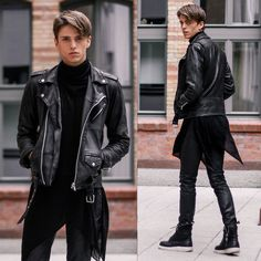 Shusta Leather Jacket, House Of Widow Ghostly Sweater, Hugo Boss Coated Pants, Dr. Martens Jayvon
