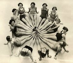 Dutch bathing beauties come full circle, circa 1926.