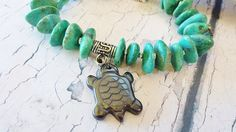 $35.40 ~ Turquoise Bracelet ~ Chunky Native American Charm Bracelet with Sea Turtle Creation Totem ~ Unique OOAK Cowgirl, Rodeo or Pow Wow Jewelry ~ Use discount code PIN10 for 10% off in my Etsy shop