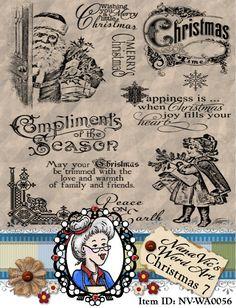 Christmas 7 Word Art Clipart Sentiments Digital Stamp