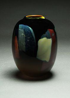 chance-a-simple-gardener:  'Blackbird' vase (No. B5856, 2003) 15.5cm x 20cm htIone Thorkelssonwww.thorkelsson.com