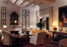 Marella Agnelli's house, Ain Kassimou, in Marrakech.  Living room (Tolstoy Room) with a section from Parrots (1832), a collection of hand-painted lithographs by Edward Lear.  Design by Alberto Pinto.  Photo by Eric Boman.