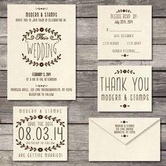 Wedding Invitation Stamp Suite Custom Wedding by modernartstamps