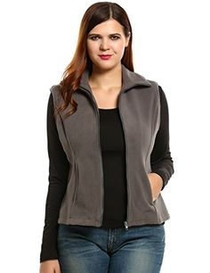 Women's Outerwear Vests - Meaneor Fashion Women Casual Front Zipper Plus Size Thickened Lint Warm Vest L4XL *** Visit the image link more details.