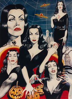 'VAMPIRA' MAILA NURMI original art by Robert Rechter (copyright) Hand-painted in gouache, pencil & Conté chalk on board. 1990's (minkshmink collection) A friend and I looked up her tiny bungalow in West Hollywood, but were too scared to knock after we read what she'd scrawled on the door to scare persistent fans. One of a kind.