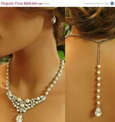 Bridal jewelry set, Bridal back drop bib necklace and earrings, vintage inspired crystal, pearl necklace statement, bridesmaid jewelry set on Etsy, $59.85