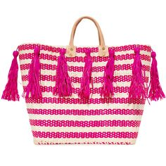 Mar Y Sol Sahara Tote ($140) ❤ liked on Polyvore featuring bags, handbags, tote bags, pink, striped tote, handbags totes, stripe purse, straw purse and straw tote