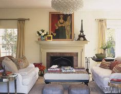 facing furniture, big coffee table, interesting mantel