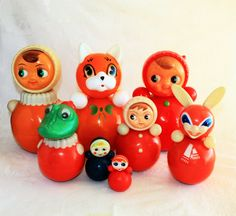 Set of 8 toys Vintage celluloid children's tumbler - Roly Poly Ding Doll - Nevalyashka - Red - / Soviet Union / USSR 1960 -s