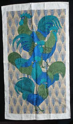 Vintage Lois Long Linen Tea Towel Rooster Chicken Kitchen Peacock Blue Green | eBay