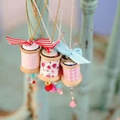 cotton reels with buttons, charms, ribbon - convert colour theme for tree decorations
