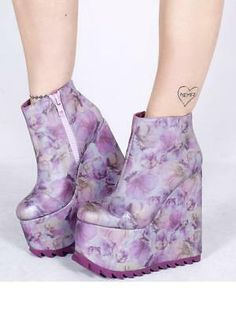 Details about YRU Dimension Reflective Lavender Floral Flowers Goth Rave Platforms Shoes Heels, High Heel Boots, Heeled Boots, Shoe Boots, Dream Shoes, Crazy Shoes, High Platform Shoes, Dolls Kill Shoes, Kawaii Shoes, Aesthetic Shoes