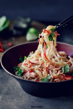 Rice noodles with miso and salmon _ Kwestia Smaku..i would want to do it with shrimp instead of salmon
