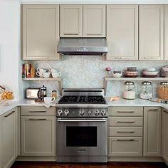 Small kitchen ideas - Backsplash shelves