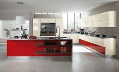 Cocina moderna tonos #rojo y metal. Sencillo y #elegante