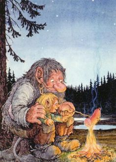 Right in the childhood :D I love Rolf Lidbergs illustrations! Forest Creatures, Fantasy Creatures, Fantasy Kunst, Fantasy Art, Les Moomins, Los Trolls, Baumgarten, Vikings, Elves And Fairies