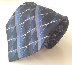 Gianfranco Ruffini Italy Neck Tie Blue Beige Brown Geometric 100% Silk #GianfrancoRuffini #NeckTie